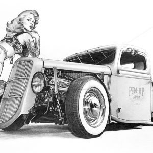 Hot Rod Pin Up Girl drawing pencil on paper.