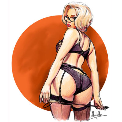 Digital painting/sketch of Ashley Martelle model drawing by Mad Mac