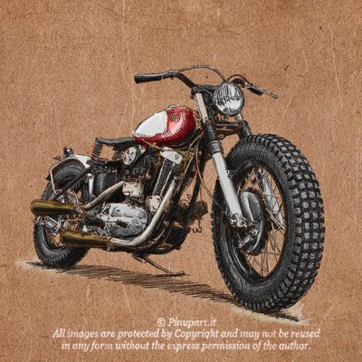 Cafe racer drawing with ink and watercolour on mdf