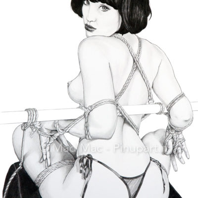 Pencil drawing of fetish and bondage sexy girl.