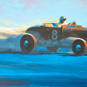 "Painting on wood with acrylic colors. Title: ""Finding the score."" Car Racing (hot rod) Vintage hurtling at sunset on the Bonneville Salt Flats."