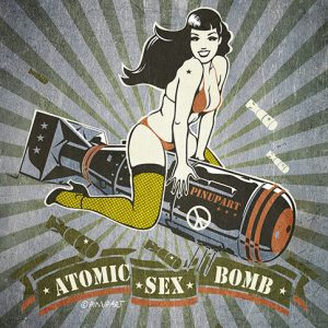 Pin up Bettie Page riding bomb Adobe Illustrator drawing
