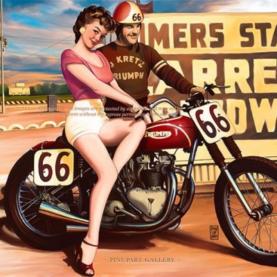 Cafè Racer pin-up girl digital painting