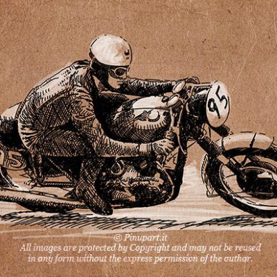 Vintage Race - Drawing motorcycle Ink and watercolour on MDF