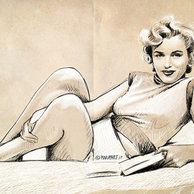 Sketch of Marilyn Monroe with pencil, pen and watercolors