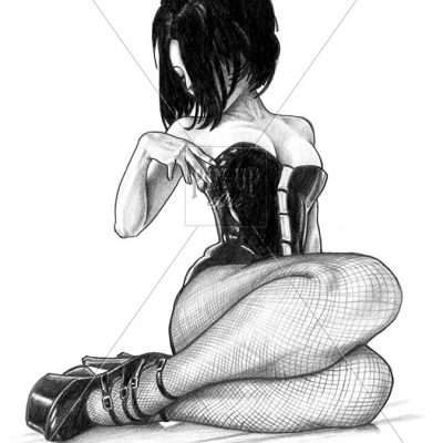 Pencil drawing of modern pin-up