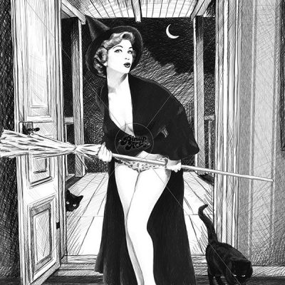 "Drawing of pin up with pen, title: ""Trick or treat?"""