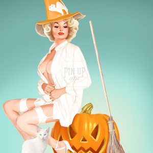 Painting of Halloween pin up in white, digital art