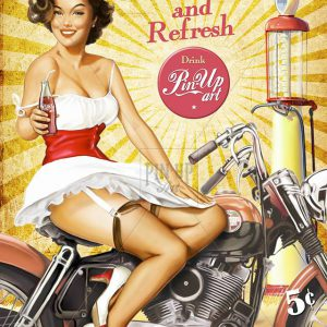 "Harley Davidson pin up title ""Pause and Regfresh"""