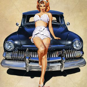Pin up with vintage american car - digital art painting