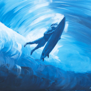 "Surf Art Painting: ""Deep Wave"" - acrylic on canvas"