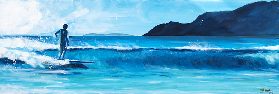 "Surf Art Painting: ""Surfing Famara"" - acrilyc on canvas"