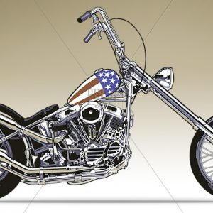 Drawing of Harley davidson Easy Rider - Macromedia Freehand digital art