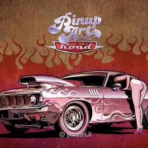Illustration muscle car Hot Rod Hot Girl - Adobe Illustrator digital art