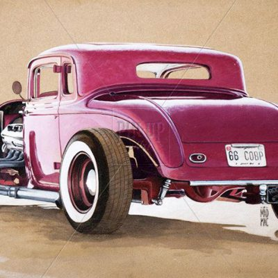 1933 Plymouth Hot Rod Coupe at Bonneville Salt Flat - Drawing Illustration with pastels and acriylic on MDF