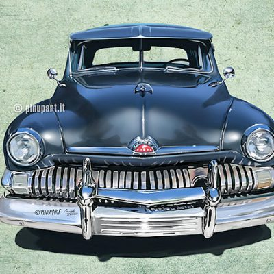 Illustration of Ford Mercury old american car - Adobe Photoshop digital art
