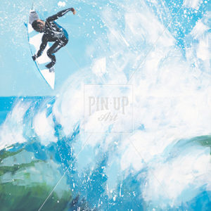 "Surf Art Painting: ""Jump"" - Acrylic on wood"
