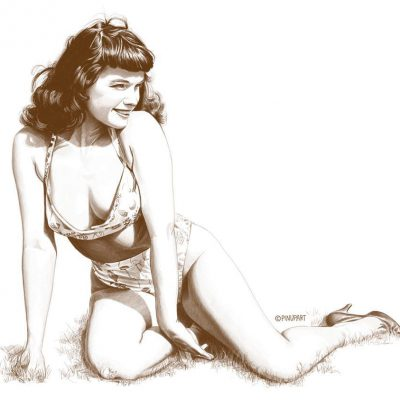 Drawing of Bettie Page best pin-up