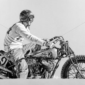 Drawing of vintage motorbike Indian, not an Harley Davidson, at start of a race. Pastels on paper.