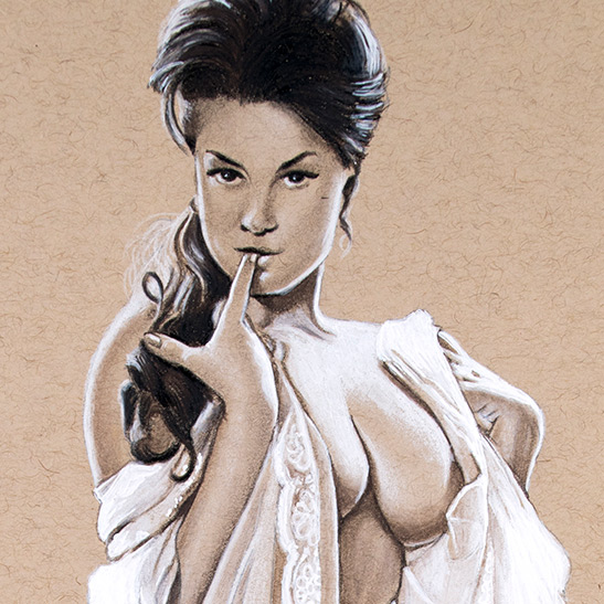 Drawing of June Palmer Pin-Up model