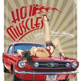 drawing painting mustang pin-up muscle car