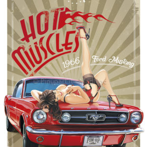 Drawing/painting of Ford Mustang with Pin-Up