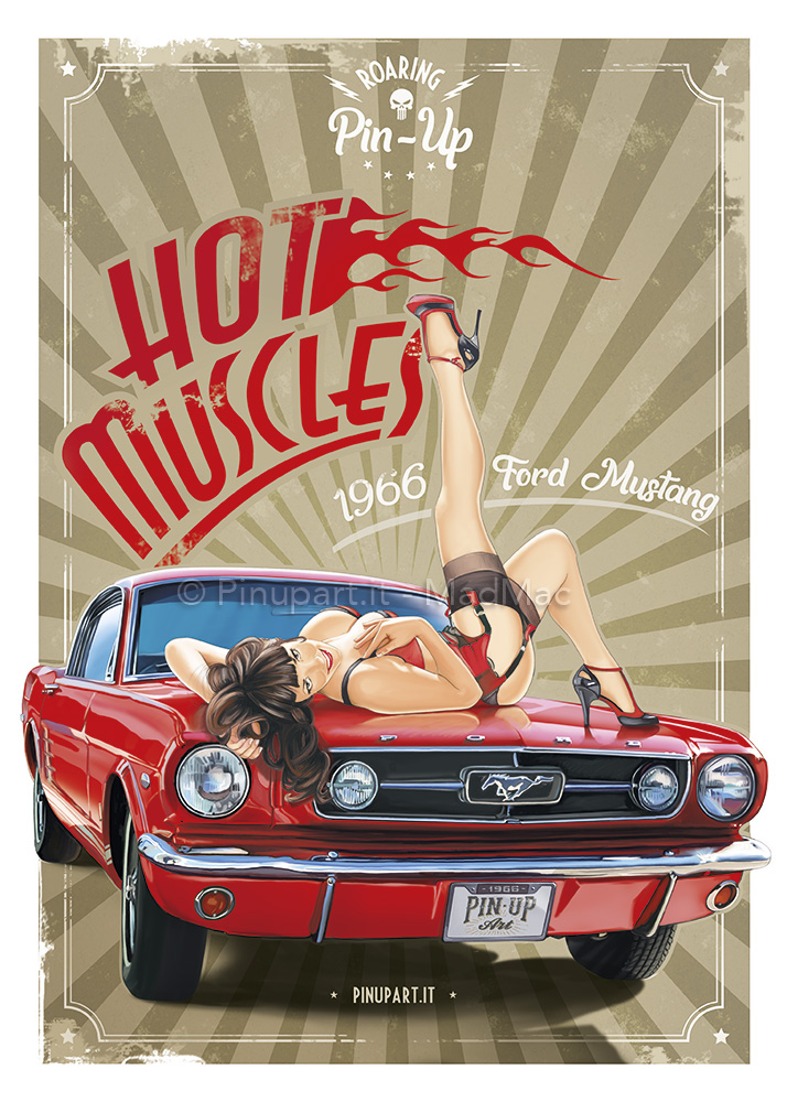 Painting of a Mustang muscle car and Pin-Up