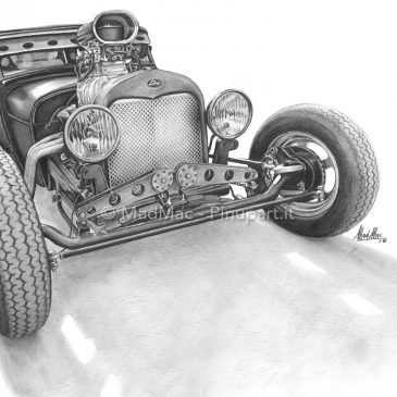Pencil drawing of Ford Hot-Rod
