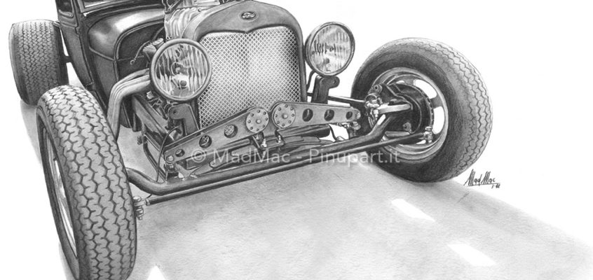 Pencil drawing of Ford Rat-Rod