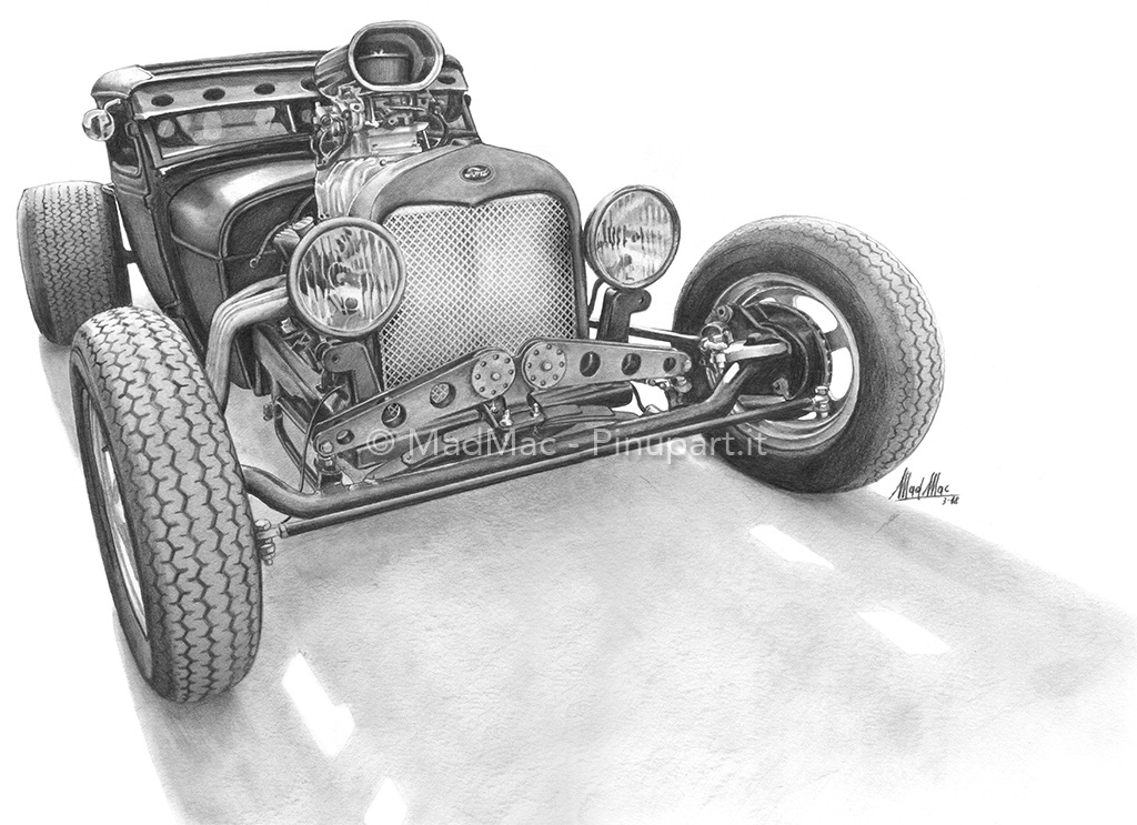 Pencil Drawing Of Ford Hot Rod Pin Up Art