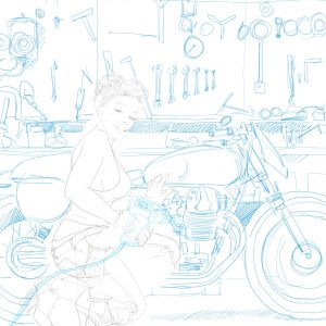 drawing sketch of garage pin-up with classic motorbike