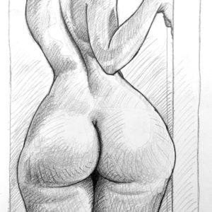 Pencil drawing study: curvy girl