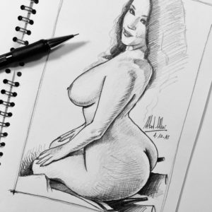 Pencil drawing sketch of nude pin-up girl - Mad Mac