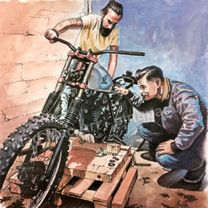Watercolour and ink painting of scrambler motorbike assembled in garage