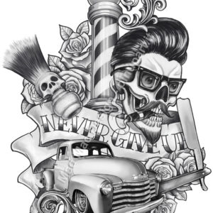 "Rockabilly tattoo design ""Never Give Up"""