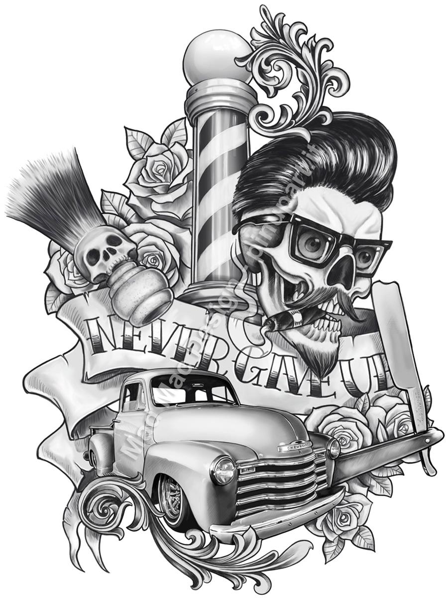 Rockabilly Tattoo Design | Pin-Up Art