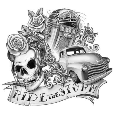 "Rockabilly tattoo design ""Ride the Storm"""
