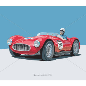 Vector painting of Maserati A6 GCS of 1953