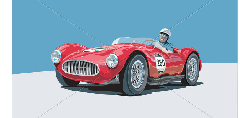 Digital painting of a classic race car: Maserati A6 GCS