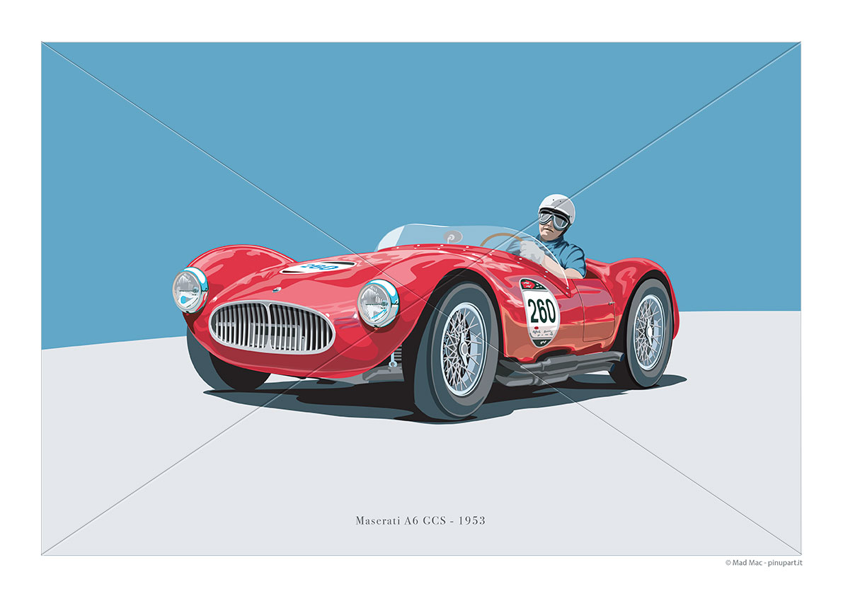 Vector painting of Maserati A6 GCS of 1953 - mad mac art