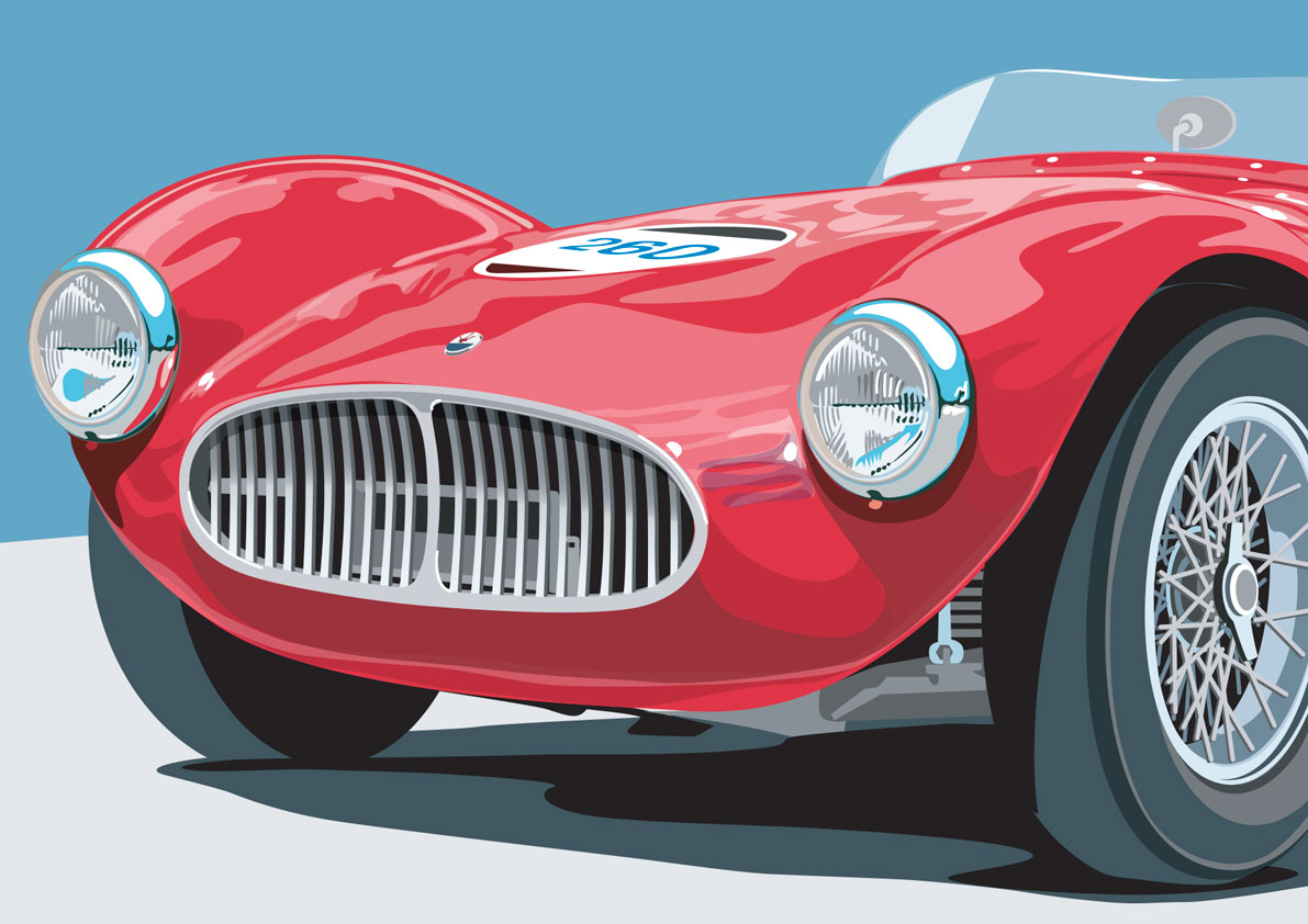 Vector painting of Maserati A6 GCS particular