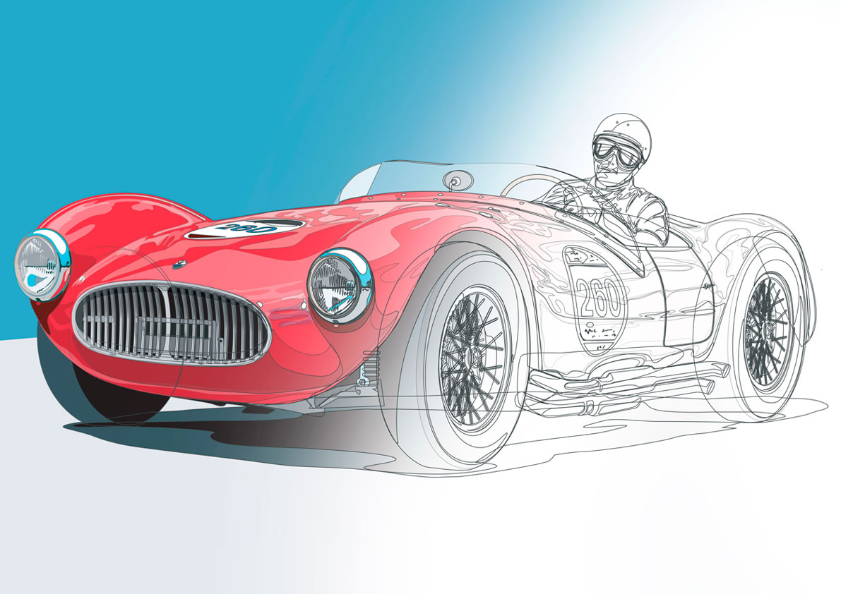 Structure of vector painting of Maserati A6 GCS