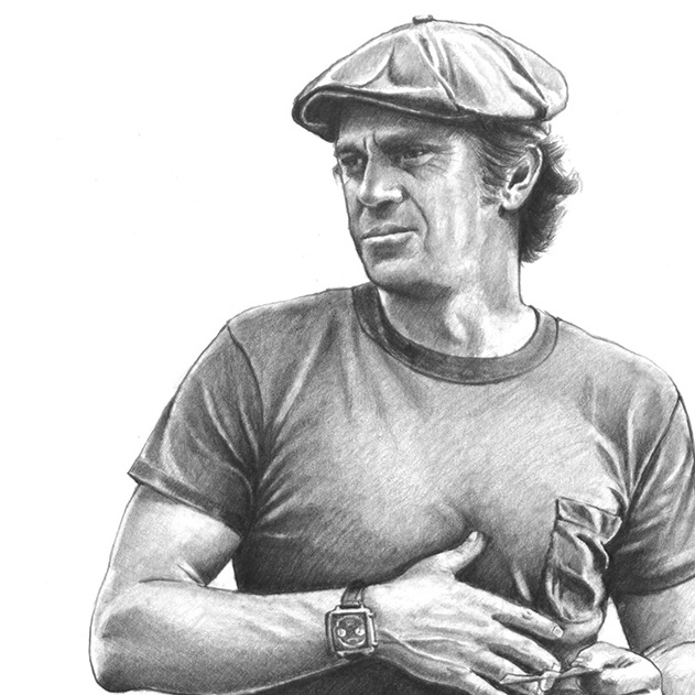 Pencil drawing of a star: Steve McQueen portrait.