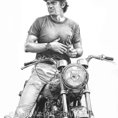 Pencil drawing portrait of Steve McQueen, Hollywood actor and racer - Mad Mac Art