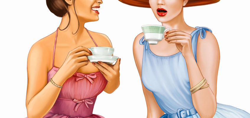 A cup of tea with two pin-ups and The Balm Cosmetics!