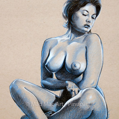 Colored pencils drawing of June Palmer one of the best pin-up model of 60s