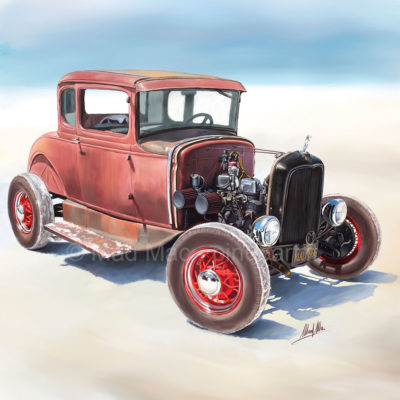 Digital painting of Hot Rod on Bonneville salt flat.