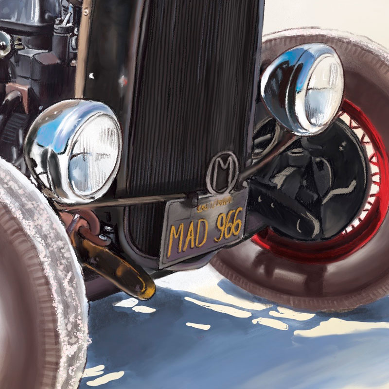 Digital painting of Hot Rod