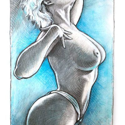 Pencil and watercolor pencils drawing of Stefania Ferrario model by Mad Mac Art - pinupart.it
