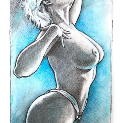 Pencil and watercolor pencils drawing of Stefania Ferrario model by Mad Mac Art - pinupart.it